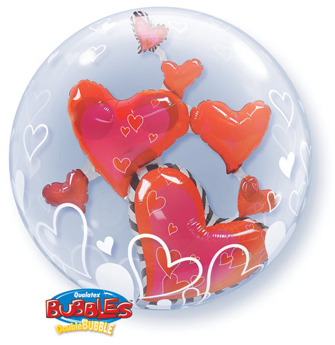 Double Bubble Hearts red